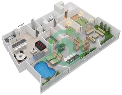 المخططات الطابقية لتصميم النموذج 7 شقة 2 غرفة نوم - بلاتينيوم ريزيدنس