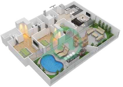 المخططات الطابقية لتصميم النموذج 6 شقة 2 غرفة نوم - بلاتينيوم ريزيدنس