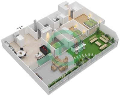 المخططات الطابقية لتصميم النموذج 5 شقة 2 غرفة نوم - بلاتينيوم ريزيدنس