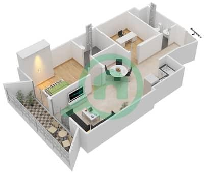 المخططات الطابقية لتصميم النموذج 4 شقة 1 غرفة نوم - بلاتينيوم ريزيدنس