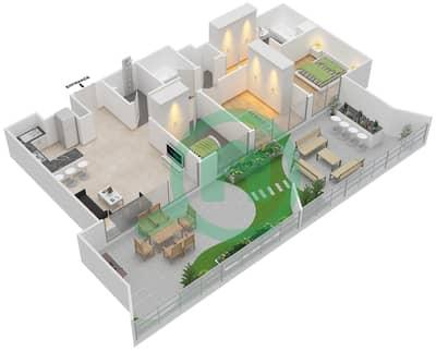 المخططات الطابقية لتصميم النموذج 4 شقة 2 غرفة نوم - بلاتينيوم ريزيدنس