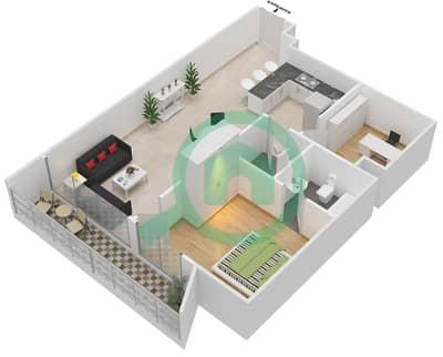 المخططات الطابقية لتصميم النموذج 3 شقة 1 غرفة نوم - بلاتينيوم ريزيدنس