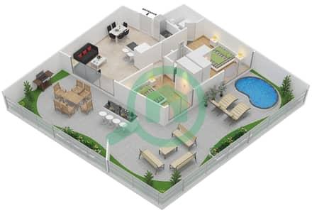 المخططات الطابقية لتصميم النموذج 3 شقة 2 غرفة نوم - بلاتينيوم ريزيدنس