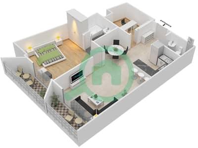 المخططات الطابقية لتصميم النموذج 2 شقة 1 غرفة نوم - بلاتينيوم ريزيدنس