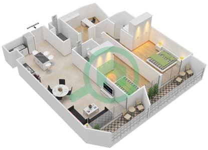المخططات الطابقية لتصميم النموذج 2 شقة 2 غرفة نوم - بلاتينيوم ريزيدنس