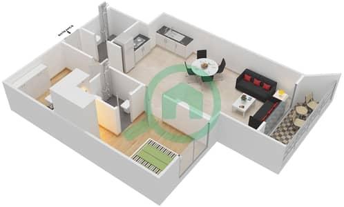 المخططات الطابقية لتصميم النموذج 1 شقة 1 غرفة نوم - بلاتينيوم ريزيدنس