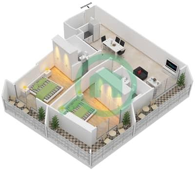 المخططات الطابقية لتصميم النموذج 1 شقة 2 غرفة نوم - بلاتينيوم ريزيدنس