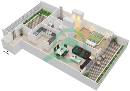 المخططات الطابقية لتصميم النموذج 2 شقة 1 غرفة نوم - أكسفورد ريزيدنس