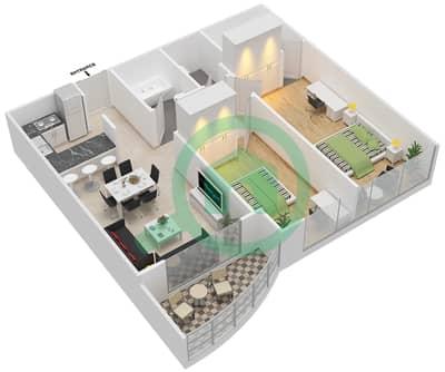 المخططات الطابقية لتصميم النموذج 3 شقة 2 غرفة نوم - كنسينغتون ماينور