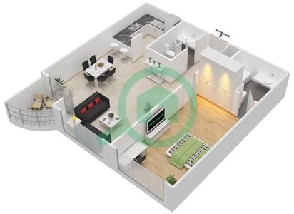 المخططات الطابقية لتصميم النموذج 1 شقة 1 غرفة نوم - كنسينغتون ماينور