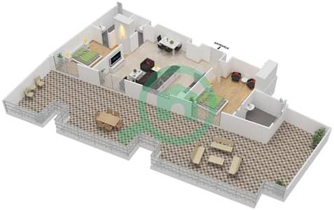 المخططات الطابقية لتصميم النموذج / الوحدة 7 UNIT 405 شقة 2 غرفة نوم - مساكن جويا فيردا