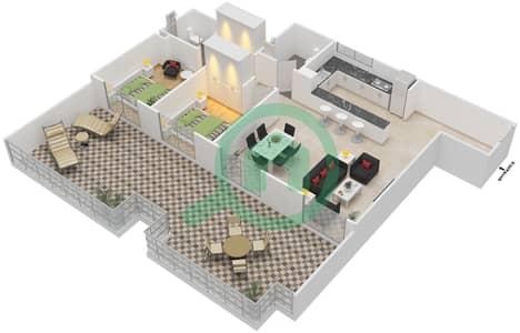 المخططات الطابقية لتصميم النموذج / الوحدة 6 UNIT 412 شقة 2 غرفة نوم - مساكن جويا فيردا