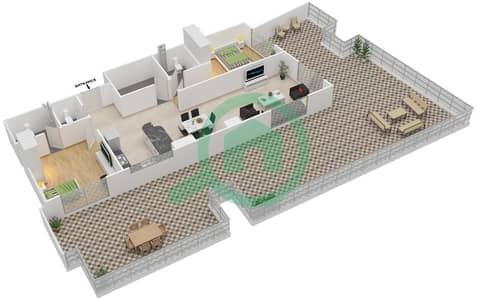 المخططات الطابقية لتصميم النموذج / الوحدة 5 UNIT 407 شقة 2 غرفة نوم - مساكن جويا فيردا