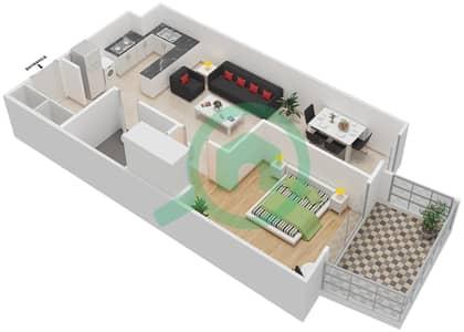 المخططات الطابقية لتصميم النموذج / الوحدة 30 UNIT 107 شقة 1 غرفة نوم - مساكن جويا فيردا