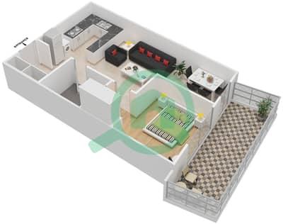 المخططات الطابقية لتصميم النموذج / الوحدة 28 UNIT 106 شقة 1 غرفة نوم - مساكن جويا فيردا