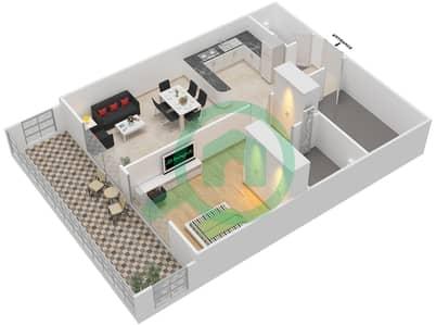 المخططات الطابقية لتصميم النموذج / الوحدة 12 UNIT 114 شقة 1 غرفة نوم - مساكن جويا فيردا