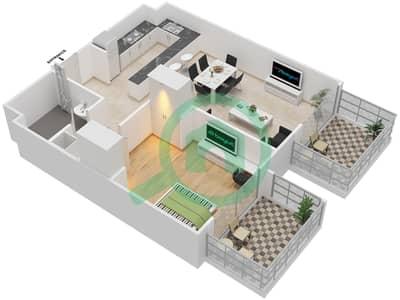 المخططات الطابقية لتصميم النموذج / الوحدة 10 UNIT 122 شقة 1 غرفة نوم - مساكن جويا فيردا