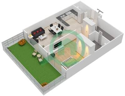 المخططات الطابقية لتصميم الوحدة 2 UNIT G02 شقة 1 غرفة نوم - مساكن جويا فيردا