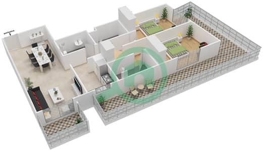 المخططات الطابقية لتصميم النموذج / الوحدة 2 UNIT 109 شقة 2 غرفة نوم - مساكن جويا فيردا