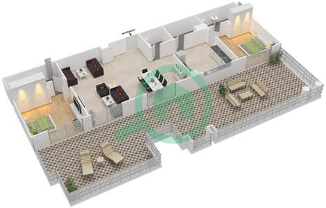 المخططات الطابقية لتصميم الوحدة 9 UNIT 408,409 شقة 2 غرفة نوم - مساكن جويا فيردا