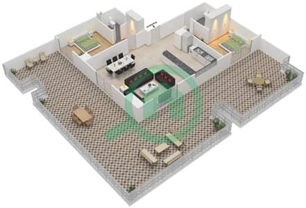 المخططات الطابقية لتصميم الوحدة 8 UNIT 410 شقة 2 غرفة نوم - مساكن جويا فيردا