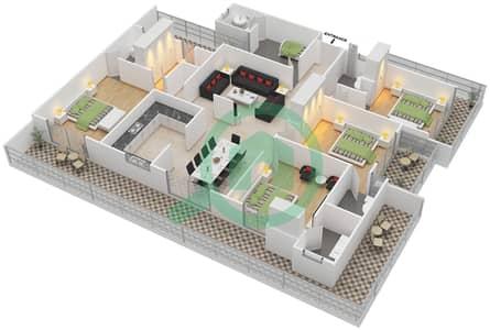 المخططات الطابقية لتصميم النموذج B شقة 4 غرف نوم - برج الوادي الأخضر