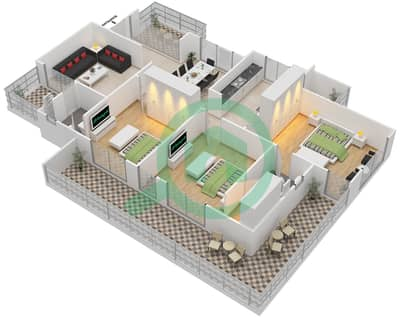 المخططات الطابقية لتصميم النموذج A شقة 3 غرف نوم - برج الوادي الأخضر