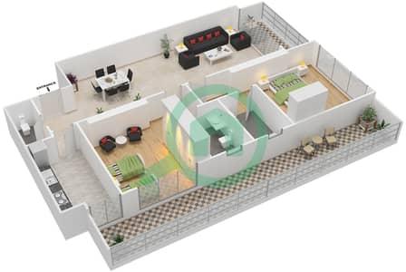 المخططات الطابقية لتصميم النموذج 27 شقة 2 غرفة نوم - غالية كونستيلا