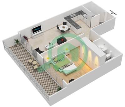 المخططات الطابقية لتصميم النموذج 25 شقة 1 غرفة نوم - غالية كونستيلا