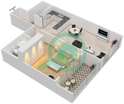 المخططات الطابقية لتصميم النموذج 24 شقة 1 غرفة نوم - غالية كونستيلا