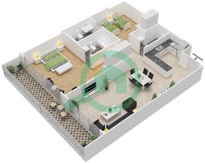 المخططات الطابقية لتصميم النموذج 23 شقة 2 غرفة نوم - غالية كونستيلا