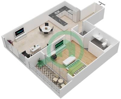 المخططات الطابقية لتصميم النموذج 19 شقة 1 غرفة نوم - غالية كونستيلا