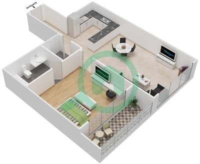 المخططات الطابقية لتصميم النموذج 18 شقة 1 غرفة نوم - غالية كونستيلا