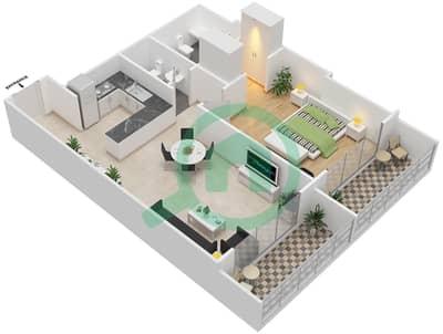 المخططات الطابقية لتصميم النموذج 15 شقة 1 غرفة نوم - غالية كونستيلا