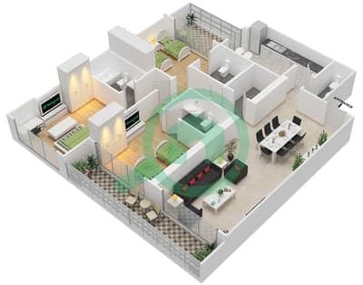 المخططات الطابقية لتصميم النموذج 14 شقة 3 غرف نوم - غالية كونستيلا