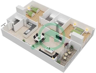 المخططات الطابقية لتصميم النموذج 13 شقة 2 غرفة نوم - غالية كونستيلا