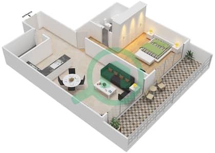 المخططات الطابقية لتصميم النموذج 6 شقة 1 غرفة نوم - غالية كونستيلا