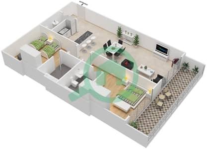 المخططات الطابقية لتصميم النموذج 1 شقة 2 غرفة نوم - غالية كونستيلا