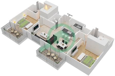 المخططات الطابقية لتصميم النموذج 4 شقة 2 غرفة نوم - إيتون بليس