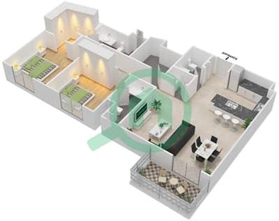 المخططات الطابقية لتصميم النموذج 2A شقة 2 غرفة نوم - إيتون بليس