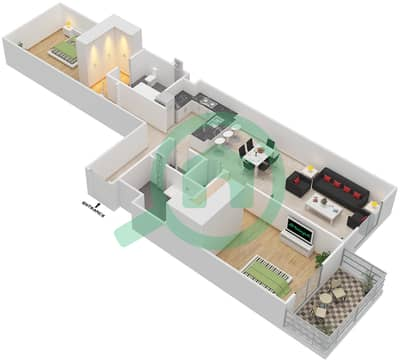 المخططات الطابقية لتصميم النموذج 3 شقة 2 غرفة نوم - إيتون بليس