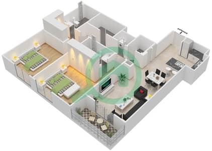 المخططات الطابقية لتصميم النموذج 2 شقة 2 غرفة نوم - إيتون بليس