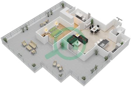 المخططات الطابقية لتصميم النموذج 4C شقة 1 غرفة نوم - إيتون بليس