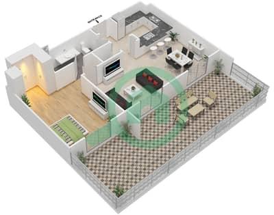 المخططات الطابقية لتصميم النموذج 4AA شقة 1 غرفة نوم - إيتون بليس