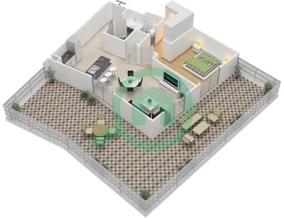 المخططات الطابقية لتصميم النموذج 4A شقة 1 غرفة نوم - إيتون بليس