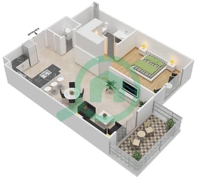 المخططات الطابقية لتصميم النموذج 1E شقة 1 غرفة نوم - إيتون بليس