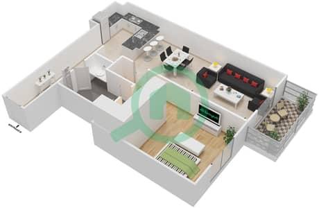 المخططات الطابقية لتصميم النموذج 1C شقة 1 غرفة نوم - إيتون بليس