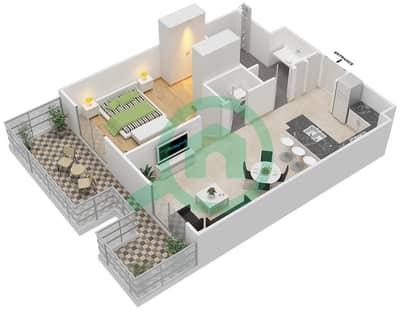 المخططات الطابقية لتصميم النموذج 1A شقة 1 غرفة نوم - إيتون بليس