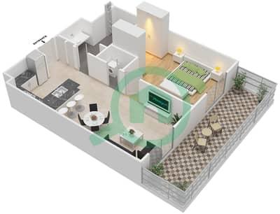 المخططات الطابقية لتصميم النموذج 1 شقة 1 غرفة نوم - إيتون بليس