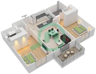 المخططات الطابقية لتصميم النموذج 1 شقة 2 غرفة نوم - إيتون بليس